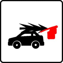 Auto mit roter Fahne