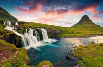 Sonnenuntergang Kirkjufellsfoss Wasserfälle