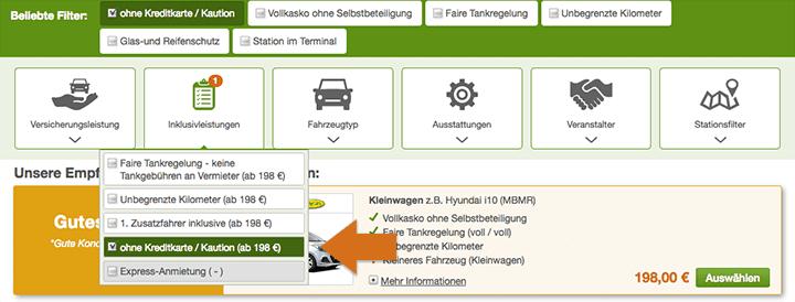 Mietwagen ohne Kaution / Kreditkarte