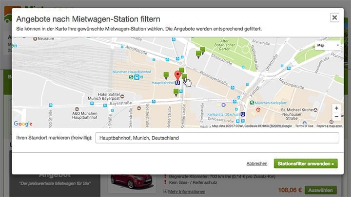 Stationen in der Nähe des Standorts auf der Karte aussuchen