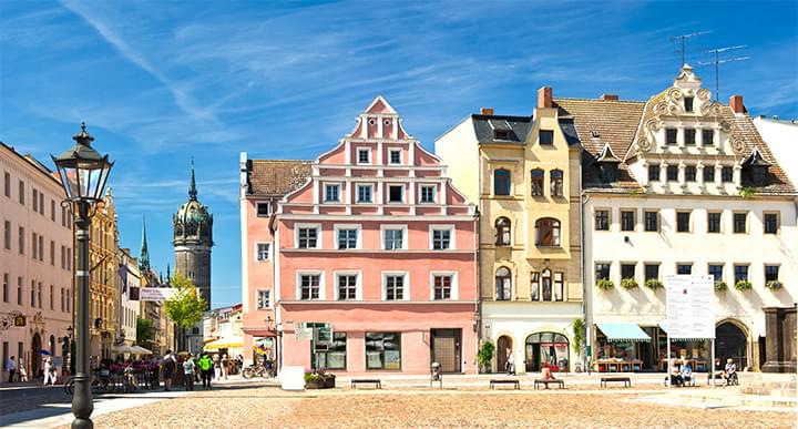 Piazza del mercato nella Lutherstadt Wittenberg